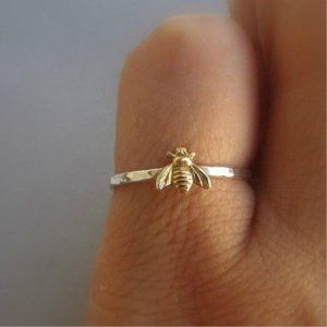 NEW 925 Silver Two Tone Gold Bee Ring
